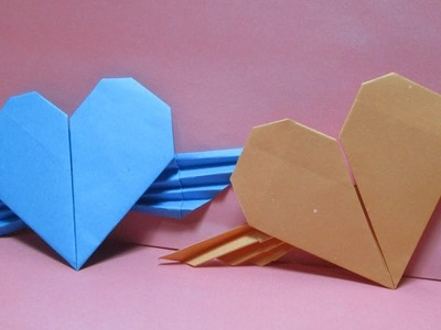 Origami Heart.How to make paper Heart with wings? paper craft Tutorials step by step.