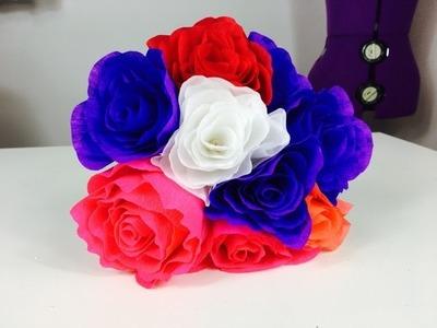 12. Cum sa faci trandafiri din hartie creponata ( 2 ) - How to make paper roses from crepe paper