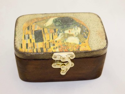 #38 decoupage of wooden jewelry box tutorial - how to decoupage on wood & how to use mordant ideas
