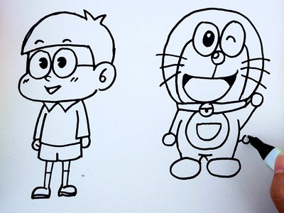 Coloring pages for kids to learn colors with Doraemon - How to draw Doremon for kids to learn