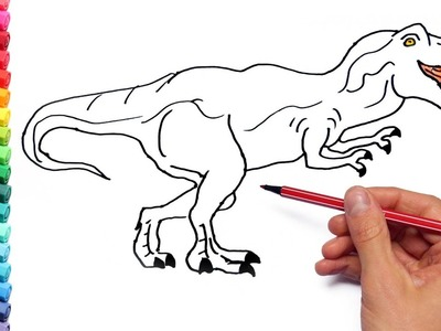 Coloring Pages for Kids to learn colors With Dinosaurs And Shark - How to draw Dinosaurs for Kids