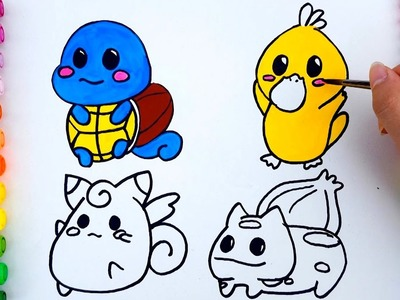 Coloring pages for kids to learn colors with Pokemon - How to draw Pokemon for kids to learn