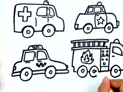 Coloring pages for kids to learn colors w ambulance - How to draw ambulance, police car for Kids
