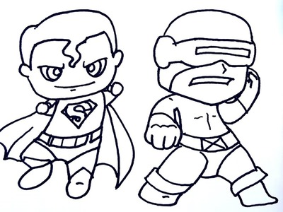 Coloring pages for kids to learn colors w superman - How to draw superman, Cyclops for kids to learn