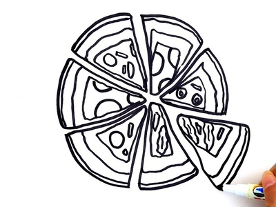 Coloring pages for kids to learn colors with pizza - How to draw pizza for kids to learn