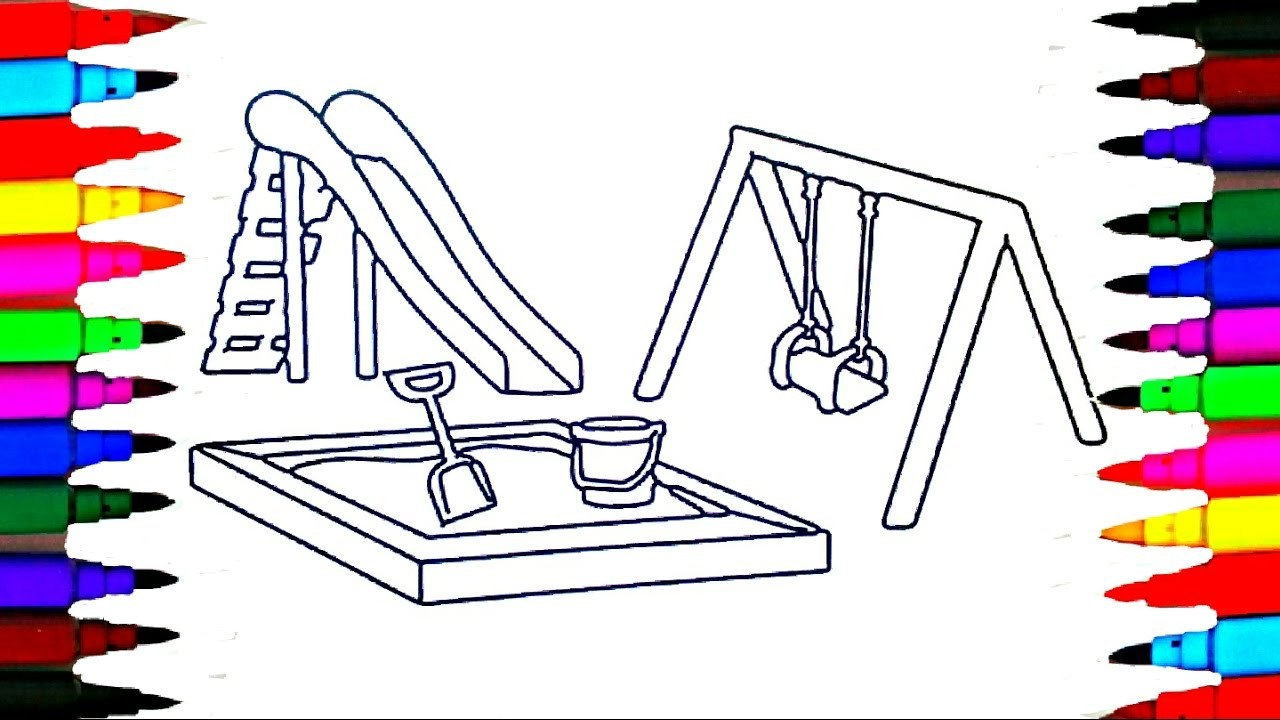 colours for kids swing sandpit coloring pages l how to