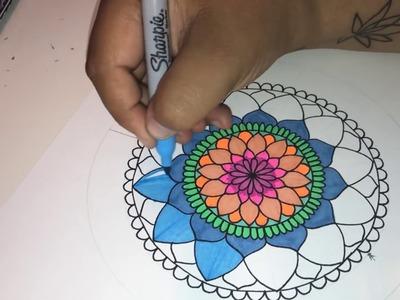 Como dibujar mandala simple a color , paso a paso  | how to draw simple colored mandala step by step