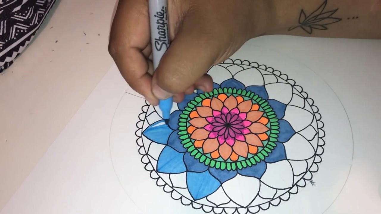 Como dibujar mandala simple a color paso a paso how to draw simple colored mandala step by step - Mandala facile ...