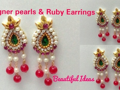 DIY.How to make Designer Pearls & Rubies Earrings Made Out Of Paper at Home.Paper Designer Earrings.