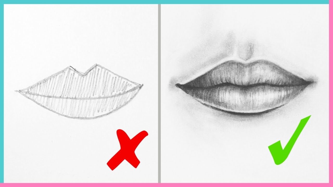 Dos ts how to draw realistic lips the mouth step by step art drawing tutorial