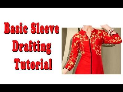 How to cut kurti sleeve ,how to cut kameez sleeve,Basic Sleeve pattern making Tutorial DIYPart2