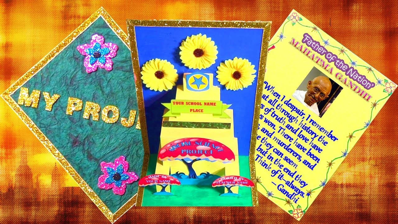 How to decorate project files with pop up and border for Art and craft file cover decoration