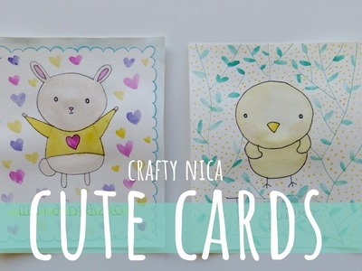 HOW TO DRAW A CUTE BUNNY AND A CARTOON CHICKEN (Kawaii animals) ???? MOTHER'S DAY CARD IDEAS