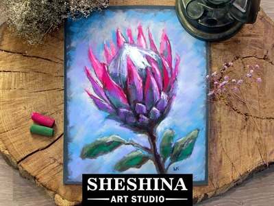 How to draw a Protea flower with soft pastels ???? Flowers