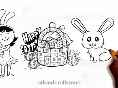 How to draw easter things. Easter drawing ideas.Easter drawings step by step