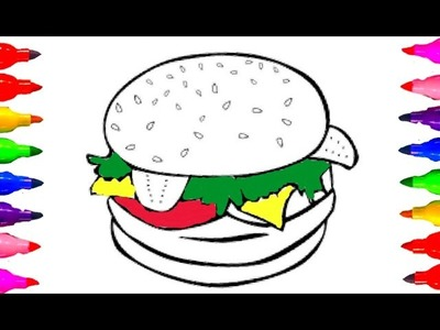 How to draw GIANT Cheeseburger| Coloring Book for kids Learning Colors Children Colored Markers