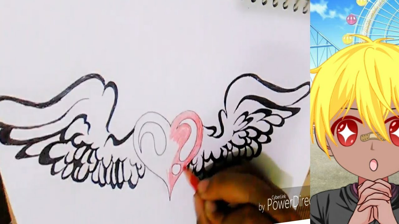 How To Draw Heart With Wings Easy Step By Step In Sketch So Cute