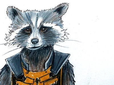 How to draw Rocket Raccoon from Guardians of the Galaxy with colored pencils