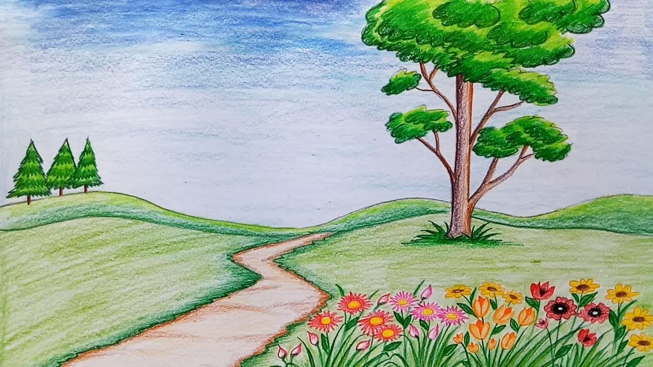 how to draw scenery of flower garden step by step very easy