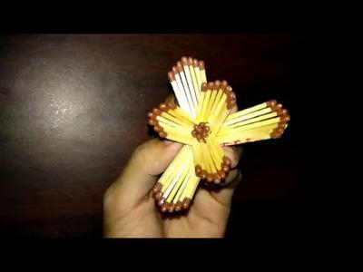 How to make a beautiful flower using matchsticks   matchstick crafts