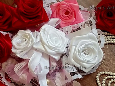 How To Make a Beautiful Rose in Ribbon-Easy Folded Ribbon Rose