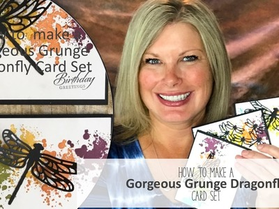 How to make a dragonfly card set featuring Stampin Up Gorgeous Grunge and Giveaway