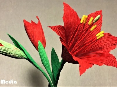 How to make amaryllis paper flower|making beautiful origami amaryllis with crepe paper tutorials