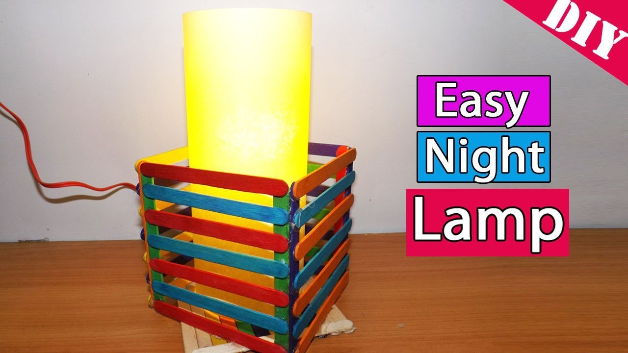 How to make an easy Night Lamp using Ice cream. popsicle sticks