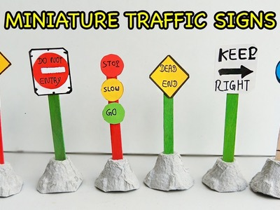 How to make Cute Miniature Traffic Sign for kids | Popsicle stick crafts