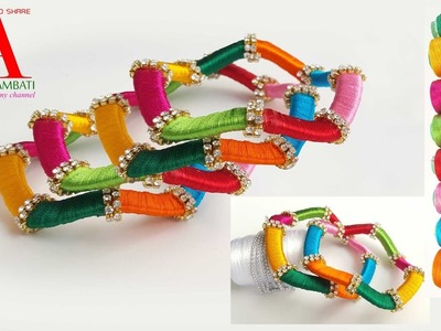 How to make designer silk thread bangles-  8 colours zigzag stone bangles within 5 minutes