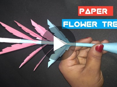 How To Make Paper Tree Easy.????. Flower Tree Making With Art Paper ( Paper Crafts )
