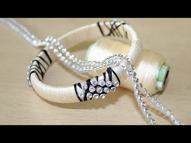 How to make silk thread bangles with Stone chain || Step by step Tutorial | Simple Bangle Making