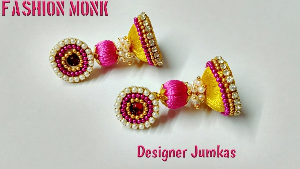 How To Make Silk Thread Jumkas With beads and Loreals combination | DIY  Fashion Earrings