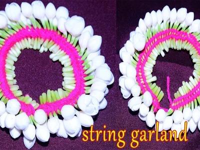 How To Make String Garland Nanthiya vattai Flowers|Bridal Wedding String Grland MAking Video Youtube