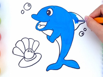 Learn colors for children with coloring pages Dolphin - How to draw Dolphin for Kids video