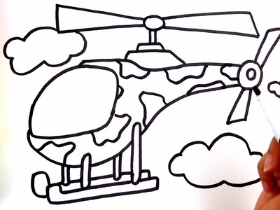 Learn colors for children with coloring pages helicopter - How to draw helicopter for Kids video