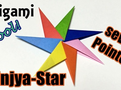 Ninja Star origami instructions easy but cool | How to make a paper 7 pointed Syuriken Ninjya star