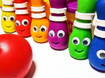 Play doh how to make bowling bottle Learn Colors for Kids