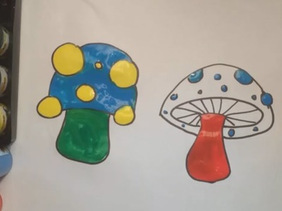 Teach Drawing to Kids - How to draw mushroom with Water Colour - Learn Colors