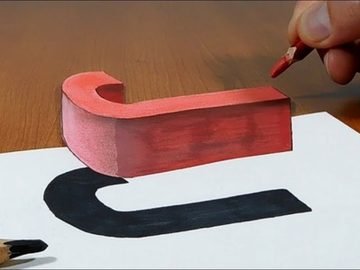 Try to do 3D Trick Art on Paper, floating letter J