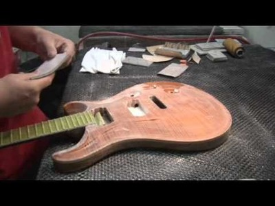 Basecoat Spray and 220 Sanding - Finish Hall - PRS Shop In Detail