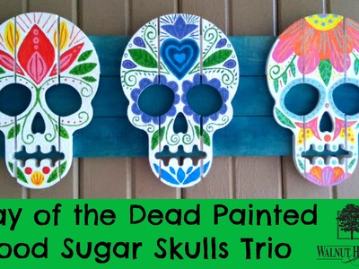 Day of the Dead Painted Wood Sugar Skulls Trio