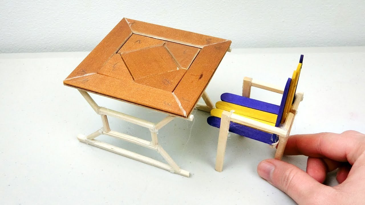 DIY Miniature Wooden Table & Chair #2 - Simple & Easy Craft ideas