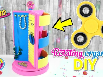 DIY ROTATING ORGANIZER WITH A FIDGET SPINNER - I'M LUNA DISNEY - SOY LUNA DIY CRAFTS