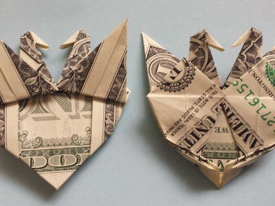 How to fold Origami Heart with Two Cranes (birds, doves)
