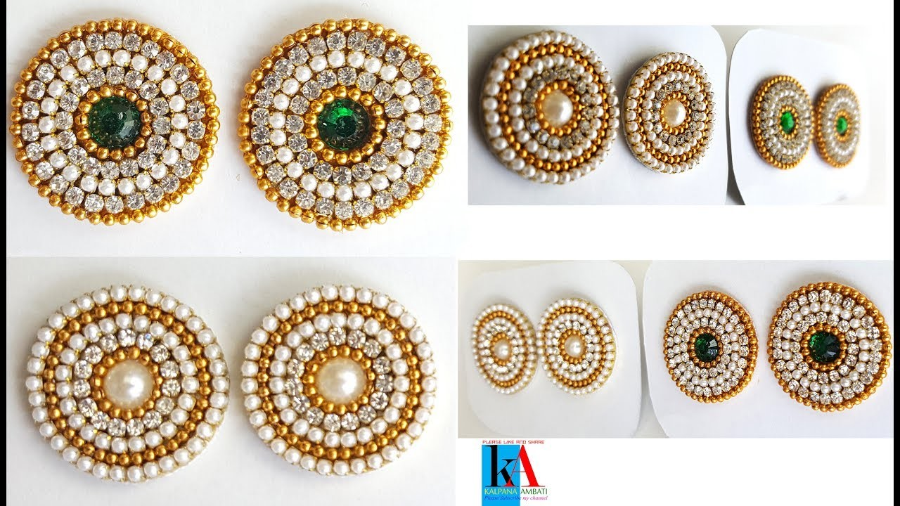 How to make new model earring studs. patches with canvas cloth and kundans