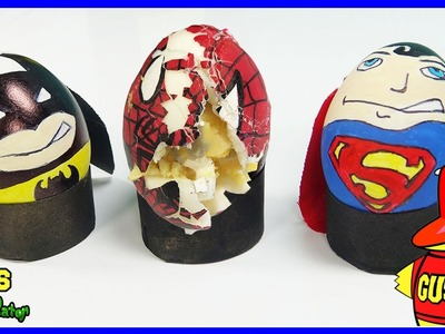 How To Make SuperHero Eggs Spiderman Batman Superman for Kids! Learn Colors Surprise Toys Playtime