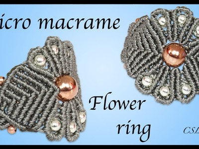 How to micro macrame flower ring
