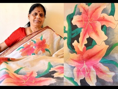 Make a designer saree with flower print using wet on wet style