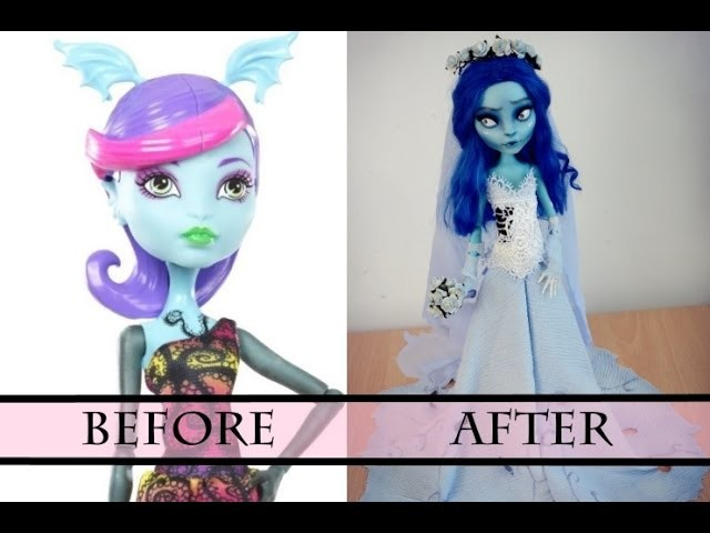 PART 2 - WORK IN PROGRESS EMILY (TIM BURTON) - MONSTER HIGH FACEUP HOW TO REPAINT A DOLL